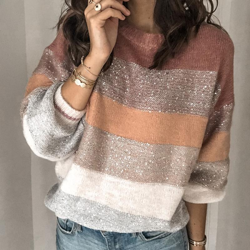 Striped Color Block Knit Pullover Sweaters