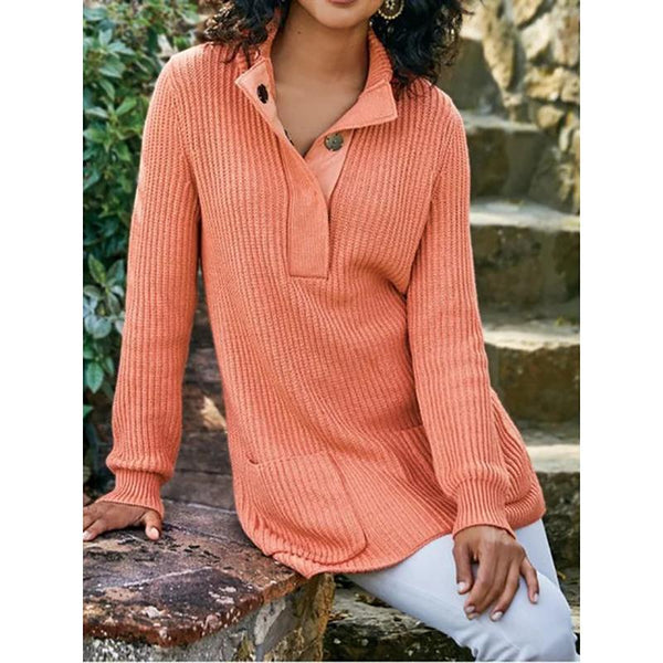 V-Neck Knitted Plain Sweater