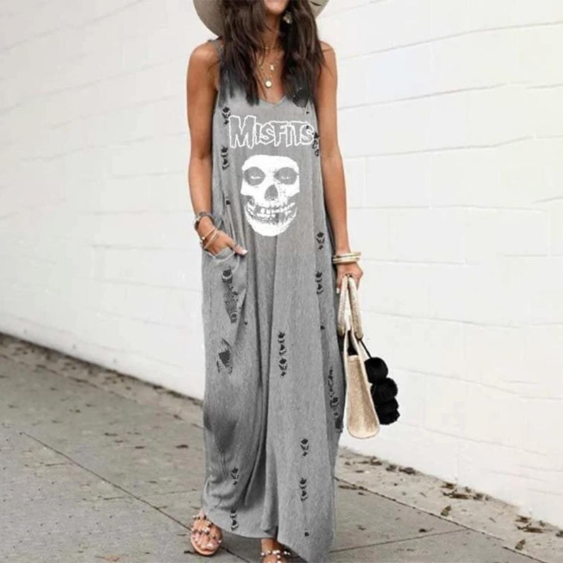 Fashion V-Neck Sleeveless Printed Ripped Loose Maxi Dress