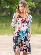 Floral Split-joint Striped Mini Dress