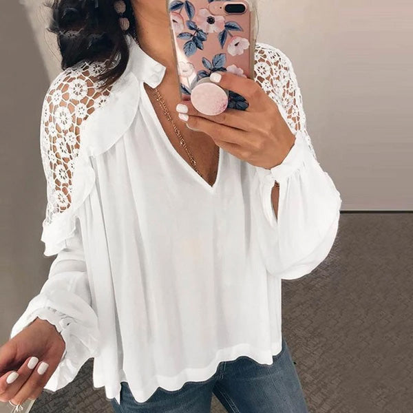 Women Lace Blouse Sexy Club Tunic Tops V Neck Lantern Sleeve Shirt S-5XL
