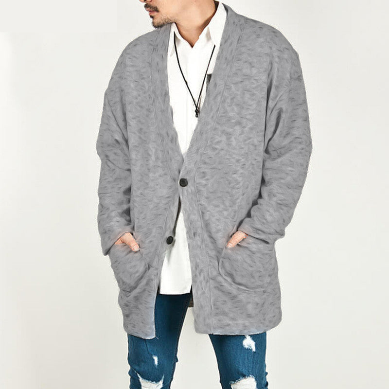Men Cardigan Long Sleeve Button Up Pockets Outerwear Loose Streetwear Solid Color Sweater Coats Cardigan