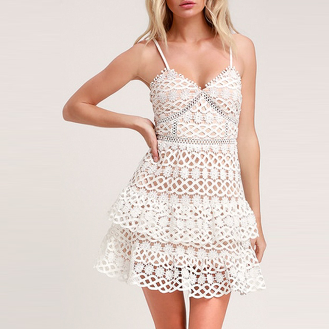 Women white lace dress party spaghetti strap Embroidery ruffle sexy dress