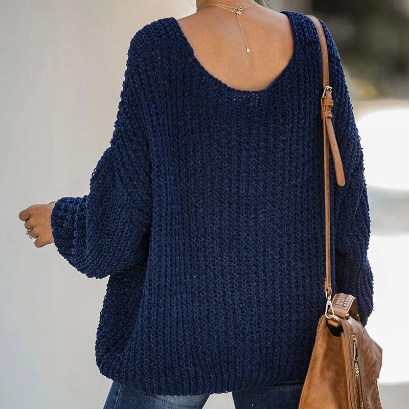 Fashion Women's Solid Color V-neck Loose Sweater
