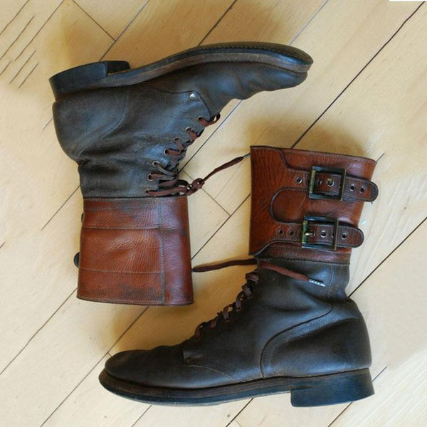 Mens Buckle Army High Boots-Black Friday Sale 35% OFF