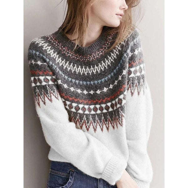 Round Neck Casual Bohemian Sweater