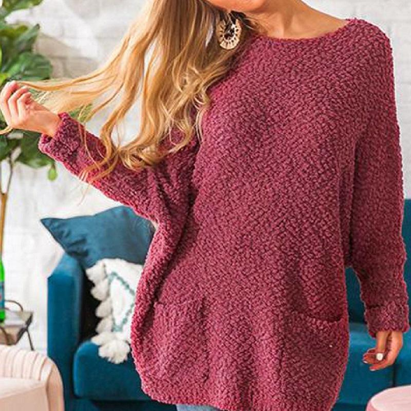 Casual Long Sleeve Pocket Sweater