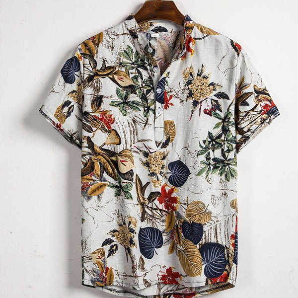 Summer Mens Hawaiian Short Sleeve Summer Floral Printed Beach Shirts