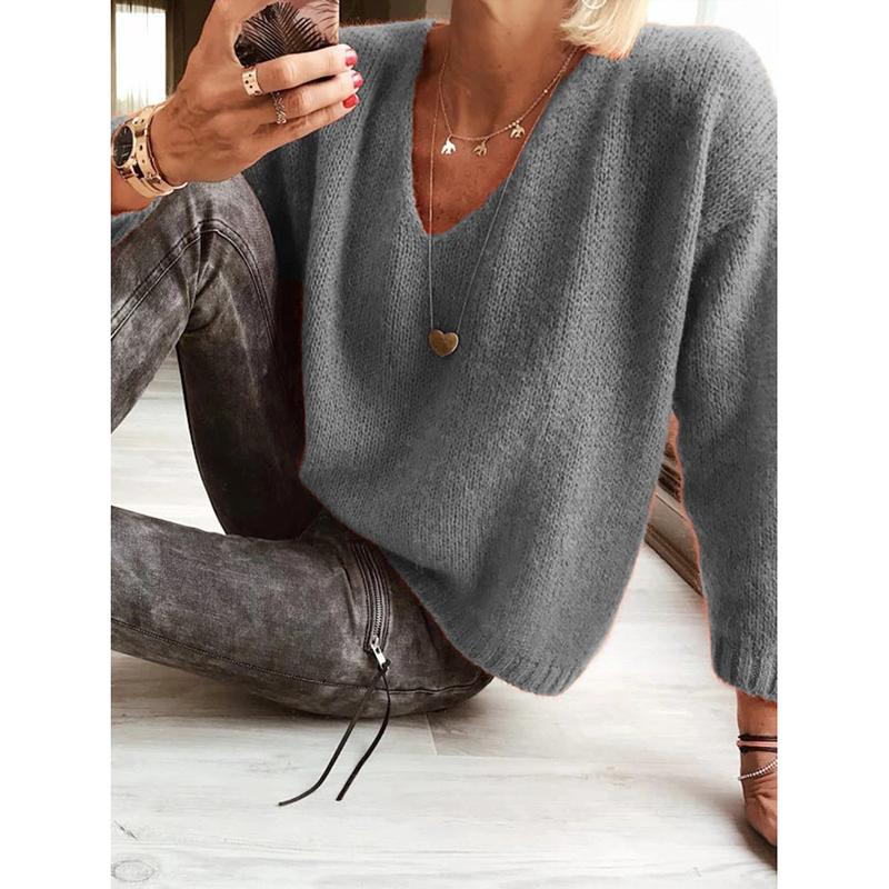 Casual V-Neck Plain Sweater