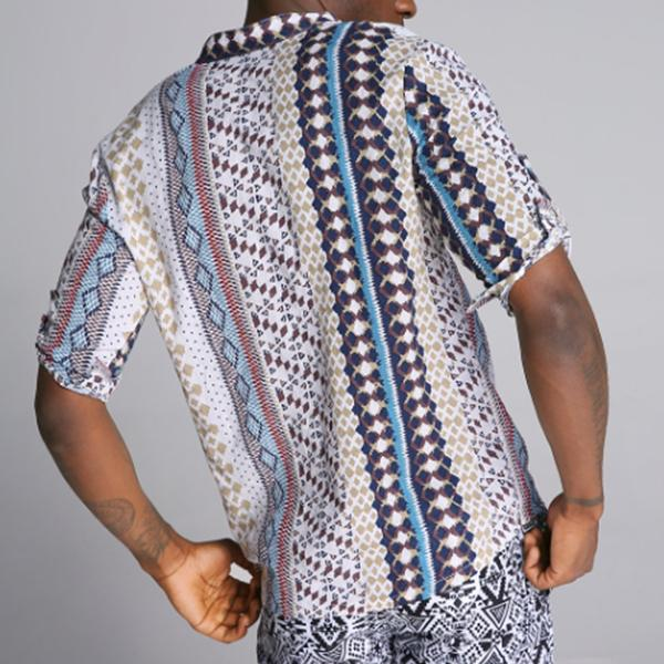 Summer Mens Ethnic Style Printed Stand Collar Half Sleeve Loose Casual T-shirt