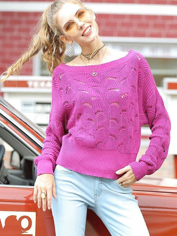 Hollow Bat Shirt One-shoudler Sweater