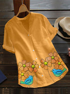 Yellow Short Sleeve Floral Shirts & Tops