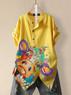 Yellow Casual Cotton-Blend Shirts & Tops