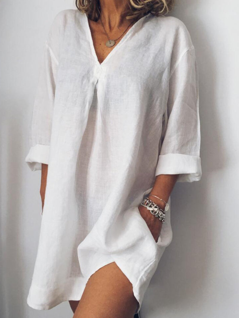 Long Sleeve V Neck Casualdress