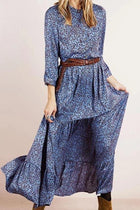 Elegant Leaf Print Buttoned Paneled 3/4 Sleeve Maxi Dress