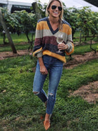V-neck Knitting Striped Loose Sweater Tops
