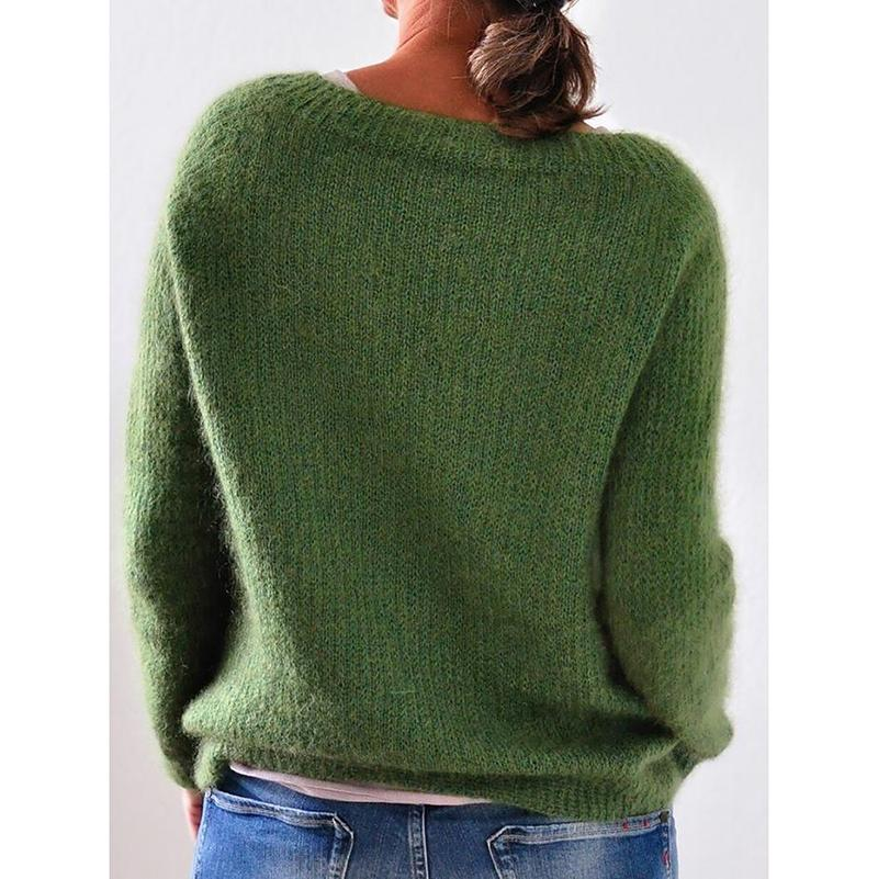 Solid Knitted Plus Size Pullovers Jumpers Sweaters