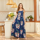 Mommy and Me Floral Dark Blue casual Tank Matching Dresses