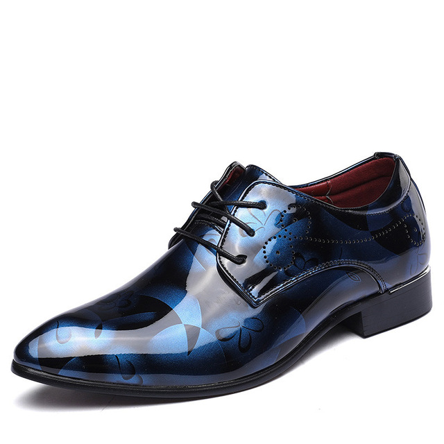 Patent Leather Fashion Business Groom Wedding Men Oxford Shoes for Man