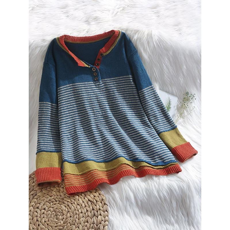 Stripe Button Long Sleeve Contrast Color Sweater