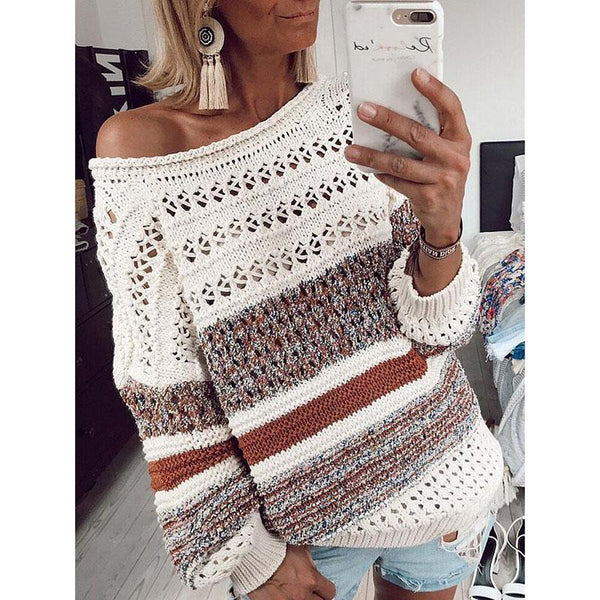 Women's Round Neck Stitching Color Sweater