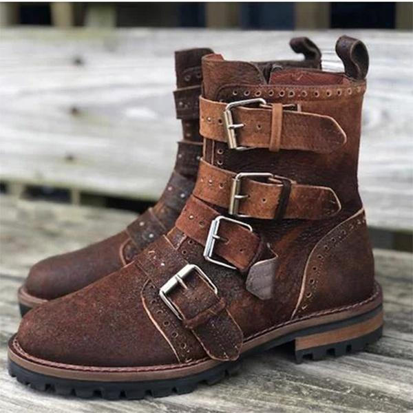 Men's Retro Leather Buckle Ankle Boots