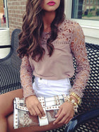 Fashion Hollow Lace Blouses&Shirts