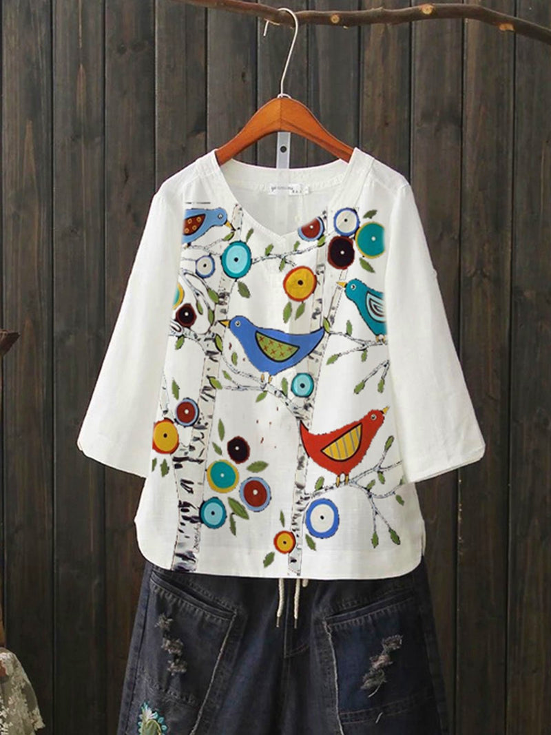 White Cotton-Blend Pastoral Leaves Shirts & Tops