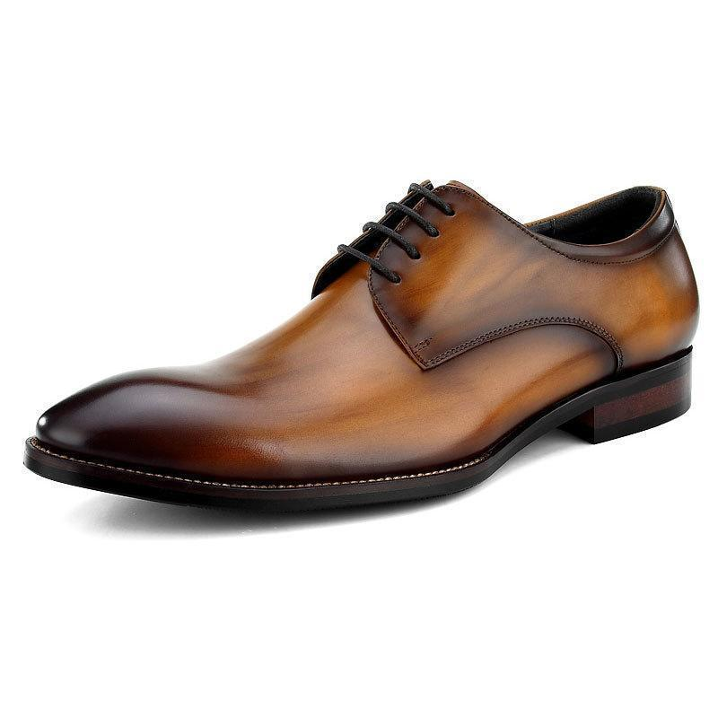 Wood-like Color Effect Derby Shoes Dress Shoes
