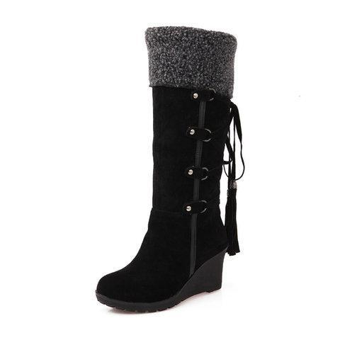 Womens Fashion Lace Round Toe Scrub High Heel Snow Boots