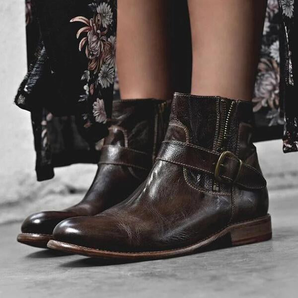 Fashion Zipper Low Heel Martin Boots