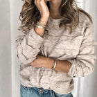 Casual Round Neck Long Sleeve Pure Color Sweater