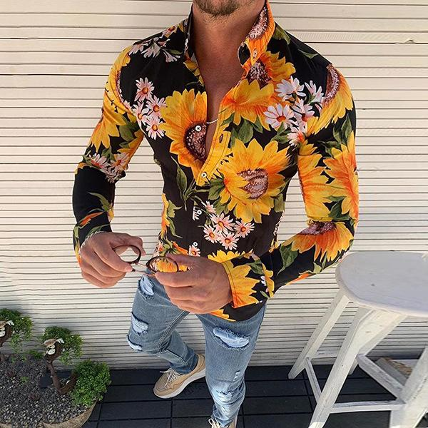 Men's Casual Turndown Collar Long-Sleeved Flower Printed Shirt