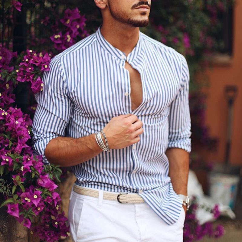 Men Fashion Stand Collar Striped Printed Shirt