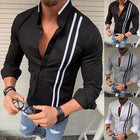 Men's Striped Solid Color Long Sleeve Shirt