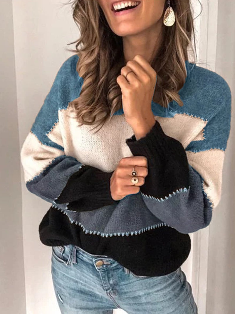 Fashion Color-block Long Sleeve Casual Crew Neck Sweater