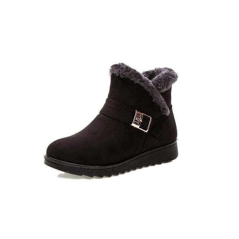 Warm Zipper Ankle Boots Women Flat Slip-on Winter Boots