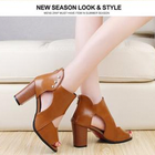 Women High Heel Sandals Leather Pumps Open Toe Sandal Shoes