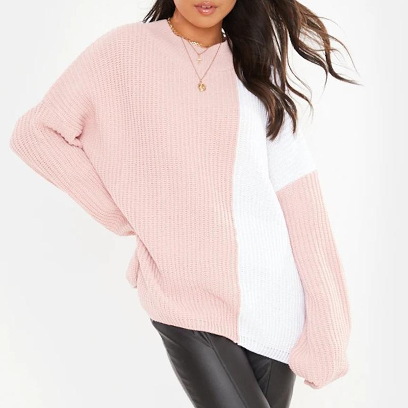 Stylish Long Sleeve Stitching Loose Knit Top