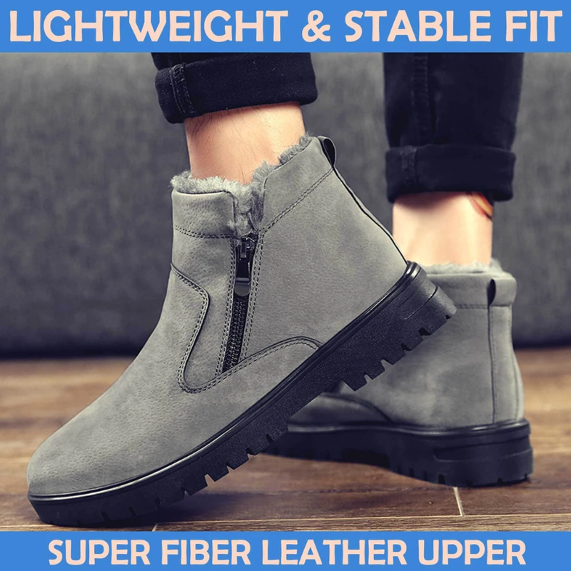 Men Waterproof Fur-Lined Snow Boots