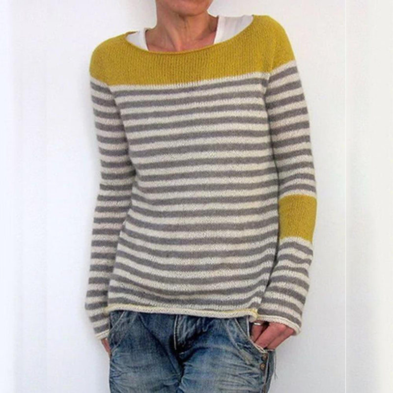 Solid Stripe Round Neck Sweaters