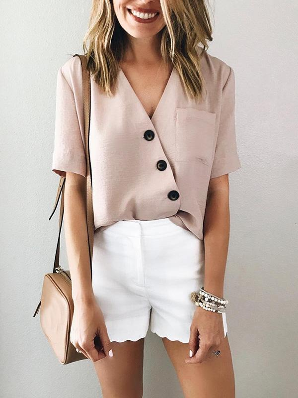 Chiffon V-neck Buttons Blouses Top