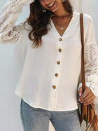 Casual Stitching Hollow V-neck Shirt