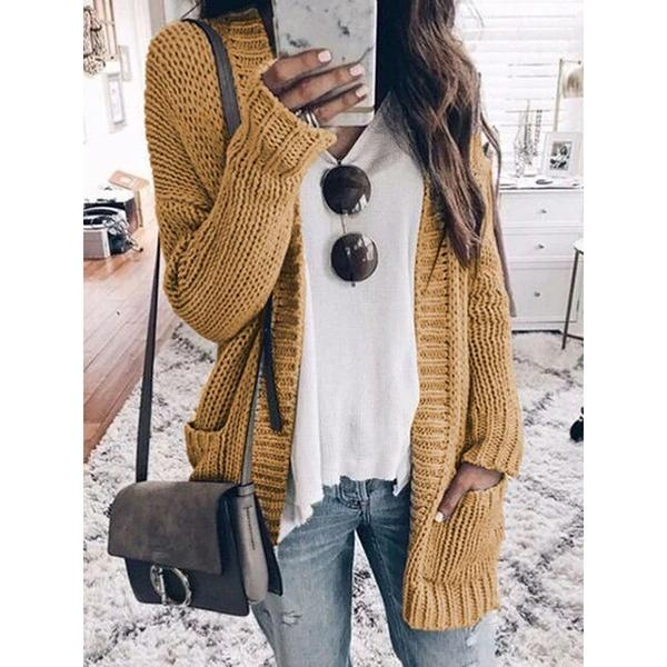Knitted Solid Long Sleeve Blouses