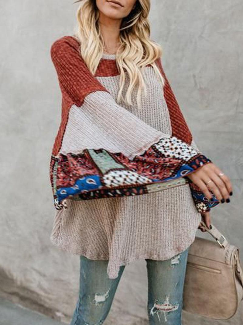 Knitted Bell Sleeve Color-Block Casual Shirts & Tops