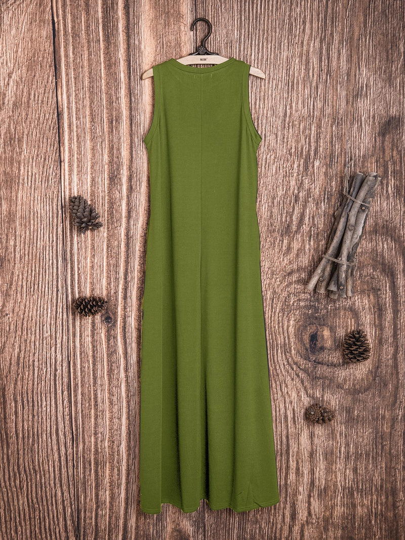 Cotton-Blend Solid Sleeveless Crew Neck Casualdress