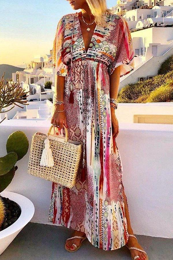 Bohemian Print Plunging Neck Maxi Slit Dress