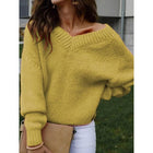 Women V-Neck Solid Casual Sweater