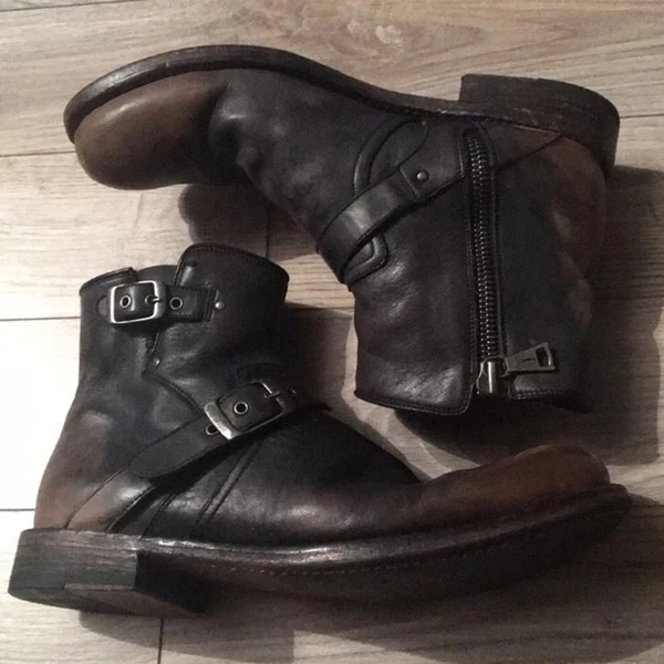 Buckle Strap Zipper Biker Leather Boots For Men