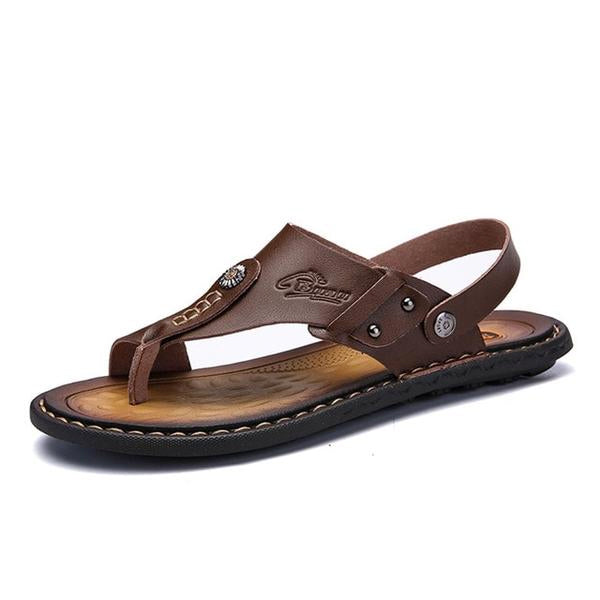 Men's Genuine Leather Leisure Slippers Flip-Flops Comfortable Soft Sandals